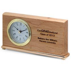 Graduate's Personalized Wood Desk Clock