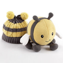 Knit Bee Plush Toy and Knit Baby Cap