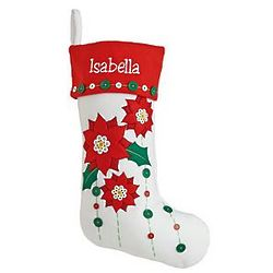 Poinsettia Red Cuff Personalized Holiday Button Stocking