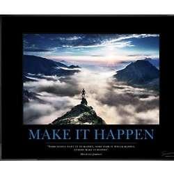Make It Happen Mountain Motivational Framed Poster