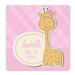 Baby Girl Giraffe Nursery Personalized Canvas Wall Sign