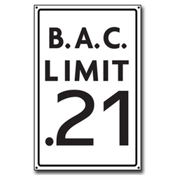 B.A.C. Limit .21 Wooden Sign