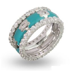 Designer Inspired Turquoise Enamel CZ Flower Stackable Ring