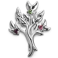 Sterling Silver Family Tree Birthstone Pin