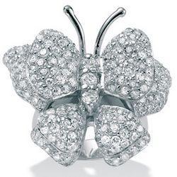 DiamonUltra Cubic Zirconia Sterling Silver Butterfly Ring