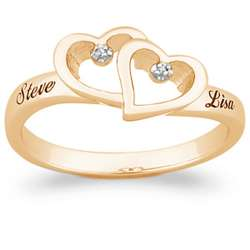 Couple's Double Heart and Diamonds Name Ring