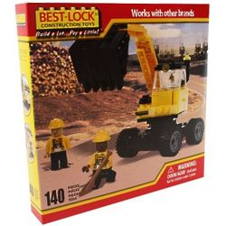 Construction Backhoe and Crew Building Set