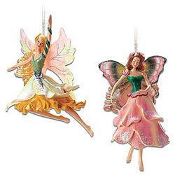 Jonquilla Daffodil and Angelique Tulip Fairy Ornaments
