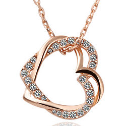 18K Gold Double Hearts Necklace