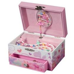 Fairy Ballerina and Pink Flower Garden Musical Jewelry Box