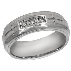 Men's Stainless Steel Cross Diamond Ring