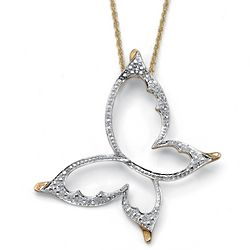 Gold Butterfly Pendant with Diamond Accents
