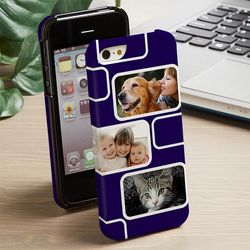 Modern Three Photo Personalized iPhone Case