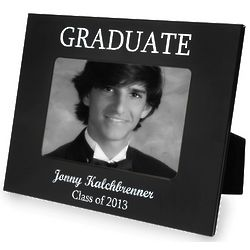 Graduate's Personalized Black and Silver Picture Frame