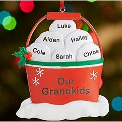 Personalized Snowball Fight in a Bucket Family Ornament