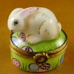 Mini Rabbit with Easter Eggs Limoges Box