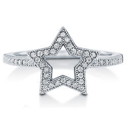Cubic Zirconia Rhodium Plated Open Star Ring
