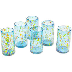 Sky Rainbow Raindrops Blown Glass Tumblers