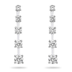 Diamond Journey Earrings in 14K White Gold