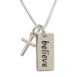 Sterling Silver Believe Pendant Necklace with Cross
