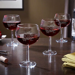 4 Livingston Personalized Red Wine Goblets