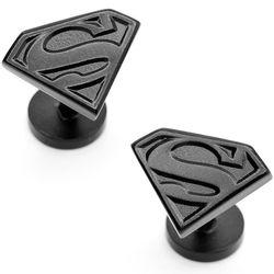 Black Satin Superman Shield Cufflinks