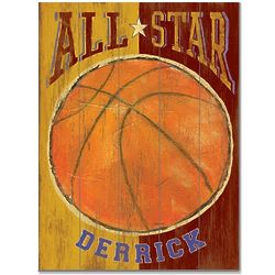 All Star Vintage Sport Theme Basketball Sign