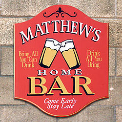 Come Early Stay Late Personalized Home Bar Sign