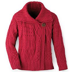 Aran Fashion Jacket Cardigan in Red