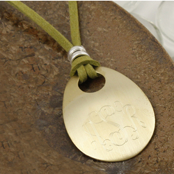 Monogrammed Brass Oval Pendant on Suede Cord