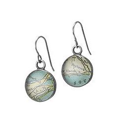 Vintage Map or Dictionary Earrings