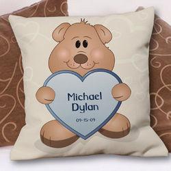 Teddy Bear New Baby Boy Personalized Throw Pillow