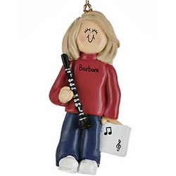 Personalized Female Clarinet Player Christmas Ornament