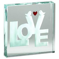 Love Birds Glass Paperweight