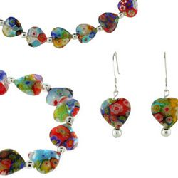 3 Piece Venetian Glass Heart Jewelry Set