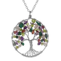 Handmade Tree of Life Gem Necklace