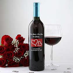 Personalized Hearts Wedding Wine Bottle