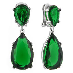 Emerald Teardrop Angelina Clip On Earrings
