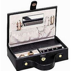 Lizard Print Leather Travel Jewelry Box