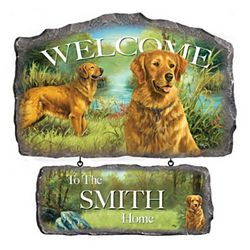 Lovable Golden Retrievers Personalized Welcome Sign