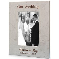 Personalized Our Wedding Antique White Picture Frame