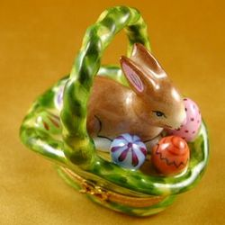 Bunny with Easter Eggs in Basket Limoges Box