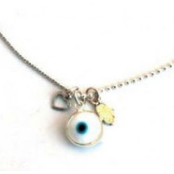 Sterling Silver Evil Eye and Hamsa Charm Anklet