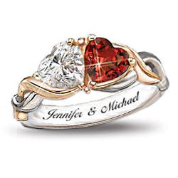 Two Hearts, One Love Heart-Shaped Personalized Ring