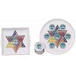 Rainbow Star Seder and Matzah Plate Set