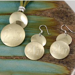 Monogrammed Brass Metal Jewelry Set