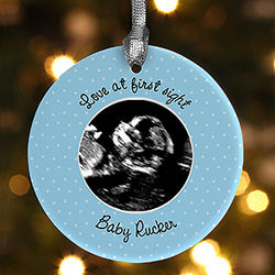 Baby Sonogram Photo Personalized Christmas Ornament
