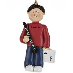 Personalized Male Clarinet Player Christmas Ornament