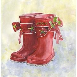 "Personalized ""Holly Jolly Boots"" Art"