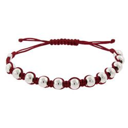 Sterling Silver Red Beaded Friendship Bracelet